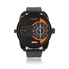 Herren Armbanduhr Quartz Duale Zeitzonen Armbanduhren für den Alltag Leder Band Schwarz Braun Weiß Schwarz Orange