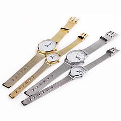 גברים / לנשים / לזוג שעוני אופנה קווארץ שעונים יום יומיים מתכת אל חלד להקה כסף / זהב מותג-