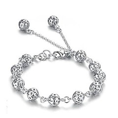 Women's Silver Plated Hollow Ball Bracelet
