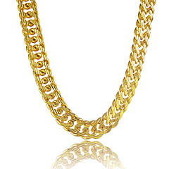 Men's 18K Real Gold Plated Figaro Chunky Necklace High Quality for Men 5MM 55CM With 18K Stamp