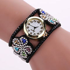 Damers Modeklocka Armbandsklocka Quartz Läder Band Blomma Svart Vit Blå Brun Rosa Lila Stämpla
