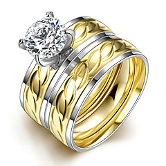 Ring,Steel AAA Cubic Zirconia Round Fashion Wedding / Party / Daily / Casual Jewelry Women Couple Rings 1set Gold