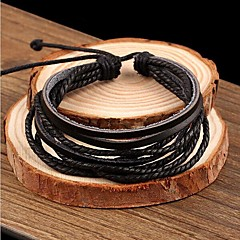 leather Charm Bracelets Lureme®Simple Leather Braided Bracelet Jewelry