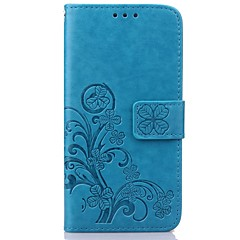 Clover Leather Pattern High Quality PU Leather Wallet Case with Hand Line for Samsung S7~S3