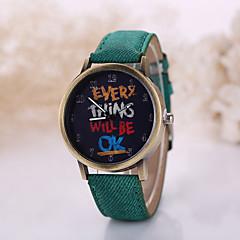 Men/Women Letter Case Denim Fabric Band Analog Quartz Wrist Watch Cool Watch Unique Watch