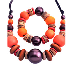 Women Wood Jewelry Set Necklace/Earrings Wedding / Party 1set
