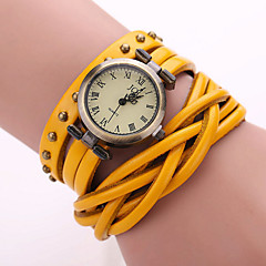 Herr Modeklocka / Armbandsklocka / Armbandsur Quartz Vardaglig klocka Läder Band Svart / Vit / Blå / Orange / Brun / Grön / Gul Stämpla-