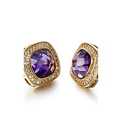 Stud Earrings AAA Cubic Zirconia Zircon Cubic Zirconia Copper Gold Plated Vintage Bohemian Punk Simple Style Fashion SquareWhite Purple