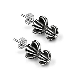 Stud Earrings Titanium Steel Fashion Flower Cross Toy Shape Silver Jewelry Casual 1pc