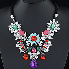 Women's Statement Necklaces Gemstone Alloy Fashion Black Rose Red Green Rainbow Jewelry Wedding Party Daily 1pc