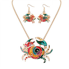 Women European Style Fashion Colorful Cute Crab Necklace Earring Set