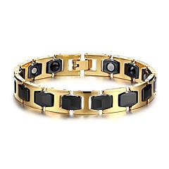 Heren Armbanden met ketting en sluiting Magneettherapie Europees Roestvast staal Keramiek Goud-Zwart Sieraden Voor Dagelijks Causaal1