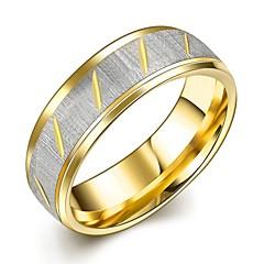 반지 패션 결혼식 / 파티 / 일상 보석류 티타늄 스틸 / 도금 골드 커플 링 1PC,6 / 7 / 8 / 9 / 10 골든 / 실버