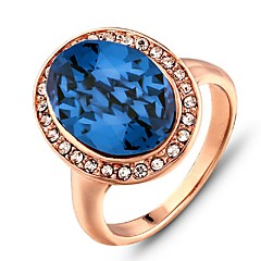 2016 Noble Austria Rhinestone Luxurious Rose Gold Party Ring For Women