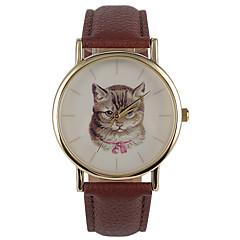 Dames Modieus horloge Kwarts Waterbestendig PU Band Vrijetijdsschoenen Bruin Merk