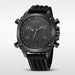 Hombre Reloj Deportivo Cuarzo Japonés LED / Calendario / Resistente al Agua / Dos Husos Horarios / alarma / Cronómetro Silicona Banda