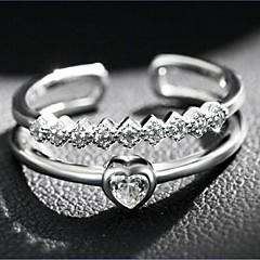 نساء خواتم حزام حب قلب فتح المجوهرات الفاخرة والمجوهرات موضة قابل للتعديل طبقة مزدوجة فضة الاسترليني زركون مكعبات زركونيا تقليد الماس