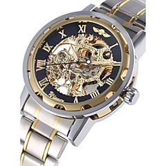 WINNER Hombre Reloj de Pulsera El reloj mecánico Cuerda Automática Huecograbado Acero Inoxidable Banda De Lujo Plata Dorado
