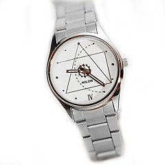 Couple's Code Pattern Casual Steel Band Quartz Watch