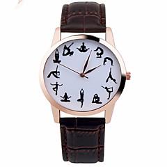 Uniseks Modieus horloge Kwarts Chronograaf Leer Band Glitter Zwart Wit Bruin Wit Zwart Bruin