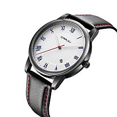 Heren Modieus horloge Kwarts Waterbestendig Vrijetijdshorloge Leer Band Vrijetijdsschoenen minimalistische Zwart