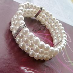 Three Layer Pearl Tennis Strand Bracelet
