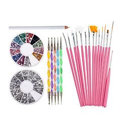 köröm díszítés szerszámkészlet, fehér viasz strassz targonca ceruza 15 rózsaszín kefe