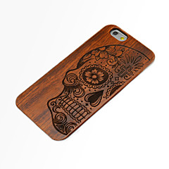 For iPhone 6 etui iPhone 6 Plus etui Præget Etui Bagcover Etui Dødningehoved Hårdt Træ for iPhone 6s Plus/6 Plus iPhone 6s/6