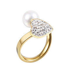 Fedine Perla imitazione diamante Doppio strato Crossover Di tendenza Regolabile Adorabile Pietre dei segni Argento Dorato Gioielli