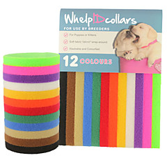 猫用品 犬用品 カラー IDタグ 調整可能/引き込み式 純色 虹色 ナイロン