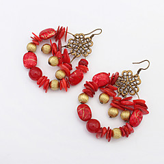 Earring Circle Drop Earrings Jewelry Women Fashion / Bohemia Style Party / Daily / Casual Alloy / Acrylic 1 pairBlack / White / Red /