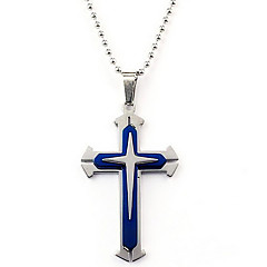 Stainless Steel Three-layer Cross Necklace for Men (Blue)