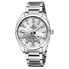 NAVIFORCE Men's Fashion Watch Calendar Water Resistant / Water Proof Quartz Japanese Quartz Stainless Steel Band Silver