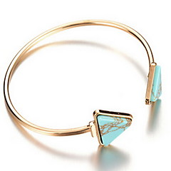 Alloy Green Triagle Natural Stone Gem Adjustable Cuff Bangle Bracelet Jewelry