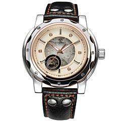 FORSINING Heren Skeleton horloge mechanische horloges Automatisch opwindmechanisme Hol Gegraveerd Leer Band Luxueus Zwart Wit Zwart