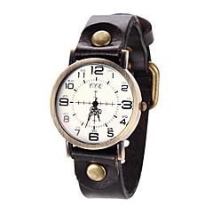 Женские Модные часы / Наручные часы / Часы-браслет Кварцевый Повседневные часы Кожа Группа Винтаж / Cool Черный / Коричневый бренд-