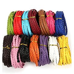 beadia trenzado plano de la PU cadena de 7 mm de cordón de cuero de la cuerda de joyería de bricolaje collar pulsera de la artesanía