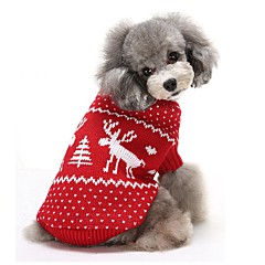 Cat / Dog Sweater Red / Blue Dog Clothes Winter Deer Keep Warm / Christmas