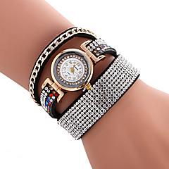 Women's Fashion Watch Bracelet Watch Quartz / PU Band Casual Cool Black White Blue Red Brown Pink Rose