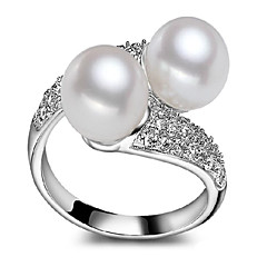 Silver Freshwater Pearl 7-8mm double ring opening