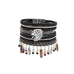Fashion Women Multi Rows Beauty Head Charm Leather Bracelet
