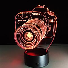 nieuwigheid 3d acryl entertainment camera illusie led lamp usb tafellamp rgb nachtlampje romantische bed decortion lamp
