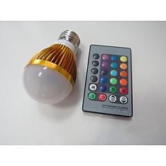 E27 85V-265V 100-230Lm 3W RGB Remote Control LED Colorful Bulbs