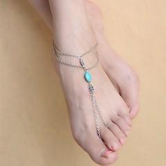 Dames Enkelring /Armbanden Verzilverd Turkoois Legering Uniek ontwerp Gesneden Kwasten Bohemia Style Modieus Eenvoudige StijlBloemvorm