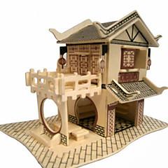 puzzle-uri Puzzle 3D / Puzzle Lemn Blocuri de pereti DIY Jucarii casă Lemn Auriu Jucărie de Construit & Model