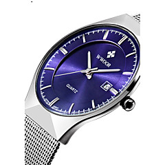 WWOOR Men's Watch New Fashion top luxury brand watch quartz Analog Watch Calendar stainless steel Fashon Dress Watch mesh strap ultra thin dial