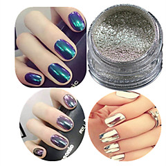 1 Set Nail Art Champagne Silver Glitter Mirror Fine And Smooth Powder And Eye Shadow Brush Set Nail Decoration C