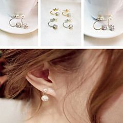 Stud Earrings Pearl Rhinestone Ceramic Alloy Classic Silver Golden Jewelry Party Daily Casual