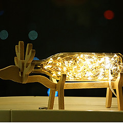 1個創造主導ビューローランプオリジナリティのベッドサイドランプ木質花火の表示と提灯の夜の光の海