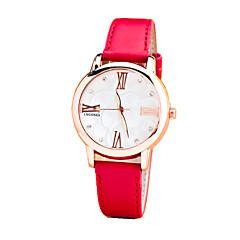 Damers Modeklocka Vardaglig klocka Quartz Läder Band Blomma Svart Vit Blå Röd Orange Brun Rosa